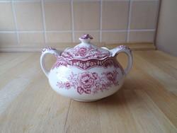 Crown Ducal Bristol angol pink porcelán cukortartó (peremén hiba)