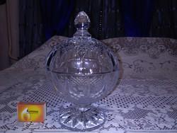 Régi, nagy méretű üveg bonbonier, cukortartó, fedeles asztali kínáló