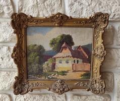 Antik festmény, gyönyörű blondel keretes falusi idilli tàjkép Ács Ágoston,Neogràdi, Németh  stílusú