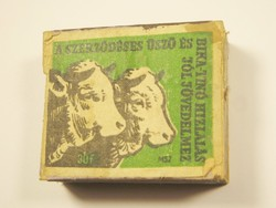 Retro gyufa reklám fa gyufásdoboz - A szerződéses üsző és bika tinó hizlalás jól jövedelmez - 1960