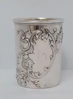 Ezüst keresztelő pohár barokk mintás