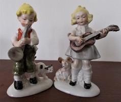 2 db Lippelsdorf, Wagner& Apel  zenélő gyermek porcelán figura