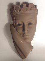 Antik Karlsruhe kerámia női fej fali dísz jelzett 1930-as évek