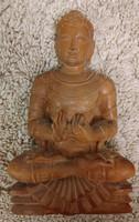 Régi fa Buddha szobor, jelzett