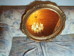 Blondel keretes ritka ovális antik tükör