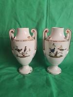 Antik, 19. századi porcelán vázapár, serlegek, kandalló dísz, német