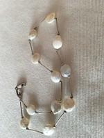 Izraeli ezüst nyaklánc-nyakék gyönggyel