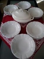 Antik Zsolnay pajzspecsétes étkészlet, igazi békebeli vastag porcelánból!