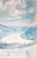 Bernáth Aurél jelzéssel: Dunakanyar - akvarell keretezve