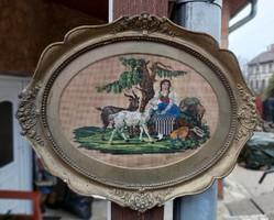 Gyönyörű antik blondel keretben gyönggyel gobelin goblen kép ,Gyönyörű darab. Gyűjtői szépség