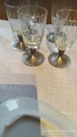 Csiszolt régi szép talpas pohár 5 darab