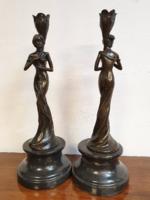 Szecessziós nőalakos bronz gyertyatartó pár, art nouveau, modern style, Jugendstil