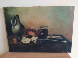 Nagyon régi Sebastian csendélet festmény (kereten, vásznon pecsét)