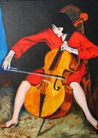 Csellózó nő Berény Róbert festményének másolata EREDETI olajfestmény