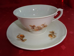 Drasche porcelán, antik teáscsésze alátéttel. Barna mintával.