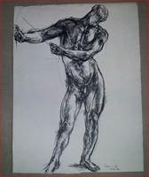 Varga Nándor Lajos - Férfi akt,1923, neoklasszicizmus, tus (egyedi rajz), szignózott