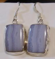 925 ezüst fülbevaló kék sávos acháttal