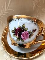 Aranyozott, rózsás kávés csésze