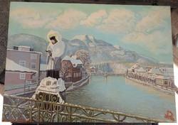 Bad Ischl télen _ német kortárs festő festménye