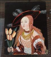 Lucas Cranach  nyomán:  Judith virággal _ német kortárs festő festménye