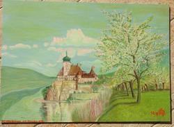 Schönbühel a Dunánál  _ német kortárs festő festménye