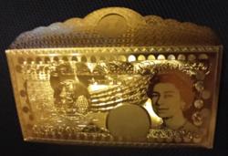 50 font arany bankjegy tartó boríték, arany pénz tartó, pénztárca