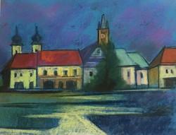 Nagybányai Fő-tér,pasztell-papír,kerettel :42 x 52 cm