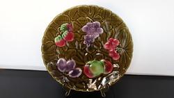 Gyönyörű régi Sarreguemines majolika kínáló tál, 30,5 cm