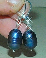 Éjfekete Japán Biwa tenyésztett Valódi Gyöngy Fülbevaló