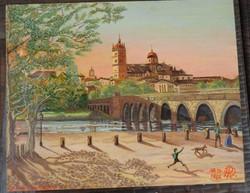 Salamanca nyár egy spanyol városban _ német kortárs festő festménye