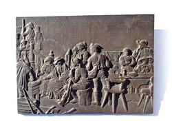Nagyobb jelenetes bronz kép