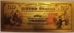 24 karátos aranyozott 20 dollár bankjegy, replika