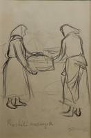 Kunffy Lajos: Rostáló asszonyok, ceruzarajz