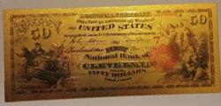 24 karátos aranyozott 50 dollár bankjegy, replika