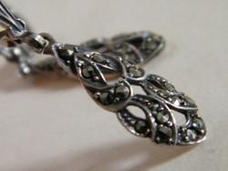Antik markazit köves ezüst fülbevaló