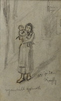 Kunffy Lajos: Nyomorult gyermek, ceruzarajz