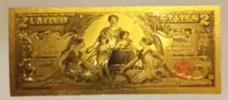 24 karátos aranyozott 2 dollár bankjegy, replika