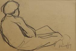 Kunffy Lajos: Háttal ülő alak, ceruzarajz