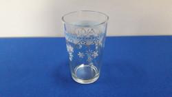 1 db kék virágos üveg pohár