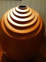 Retro, nagy, jelzett, iparművész kerámia váza, barna, íves vonalakkal