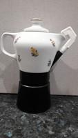 Hollóházi Porcelán kávéfőző Szórt virágmintával