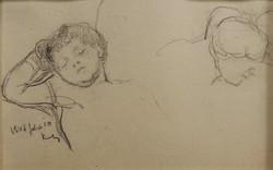 Kunffy Lajos: Alvó kisfiam és feleségem, ceruzarajz