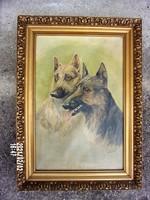 """""""El von Bladel 1932"""" jelzéssel: Kutyák (olaj-vászon)  festmény 47x65 cm"""