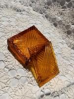 Borostyán színű üveg bonbonier, ékszertartó, szelence