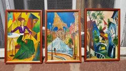 Sztopka Anna: Kubista trió, életkép, tájkép. Olaj, fa 20x30 cm, festmény, modern képkeret.