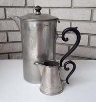 Régi fém teáskanna kiöntő fafülű vintage kanna 2 db
