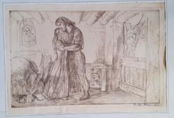 SZABÓ VLADIMIR: Toldi Miklós édesanyjával (rézkarc, aláírt, 32x45 cm)