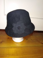 Női gyapjú kalap elegáns fejfedő virágdísszel wool hat
