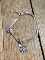 Amore & Baci ezüst karkötő tűzzománcfestett hajós és Pandora családfa charmmal