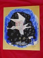 Georges Braque (1882-1963) - Madár az égen Szerigráf 999 tiszta arannyal kezelt fémlemezen+certi